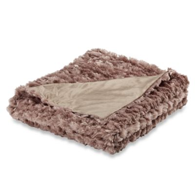 Magnolia Faux-Fur Oversized Reversible Throw Blanket in Champagne