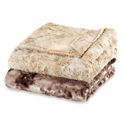 Faux-Fur Oversized Reversible Throw in Tan