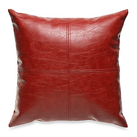 Red Leather Decorative Pillow : San Francisco Faux Leather Red Throw Pillow - Bed Bath & Beyond
