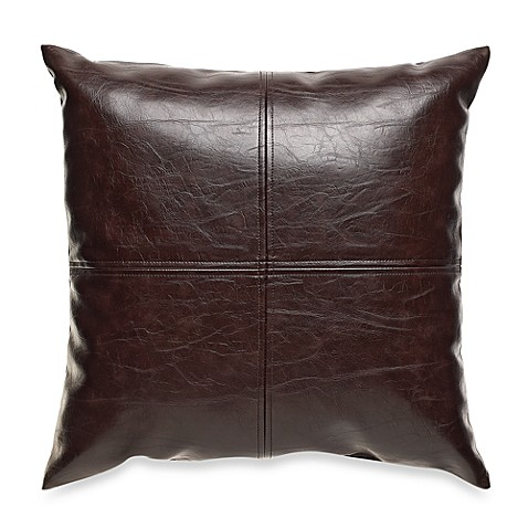 San Francisco Faux Leather Chocolate Throw Pillow