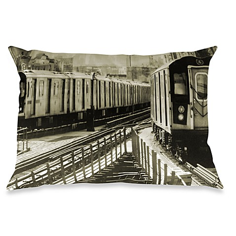 4 Train Subway Oblong Throw Pillow