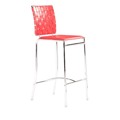 Zuo® Modern Criss Cross Counter Chair in Red (Set of 2)