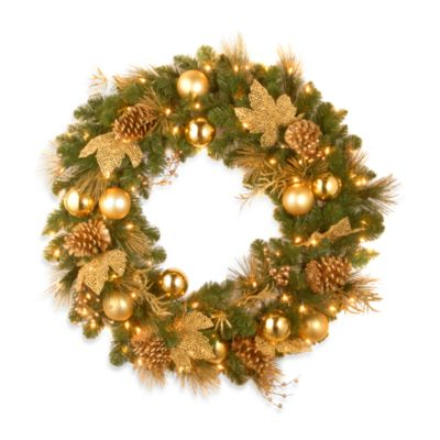 "National Tree 36"" Decorative Collection Elegance Pre-lit Wreath w/LED Lights"