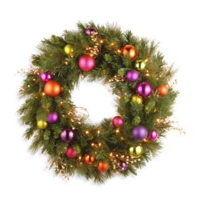 "National Tree 30"" Kaleidoscope Pre-lit Wreath w/ LED Lights"