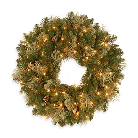 National Tree 2-Foot Pre-Lit Carolina Pine Wreath with Flocked Cones