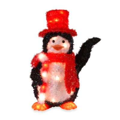 "National Tree 22"" Pre-lit Tinsel Penguin with Candy Cane"