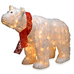 25-Inch Pre-Lit Polar Bear with Red Scarf