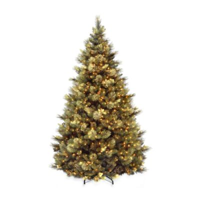 National Tree Carolina Pine 7 1/2-Foot Pre-Lit Hinged Tree with 86 Flocked Pine Cones and 750 Clear Lights