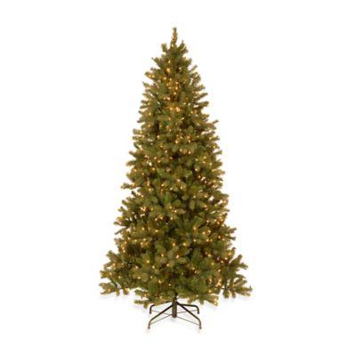 National Tree Feel-Real® 7 1/2-Foot Pre-Lit Downswept Douglas Slim Fir Hinged Tree