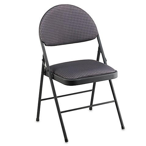 Buy Cosco Oversized Upholstered Metal Folding Chair In Black From Bed Bath