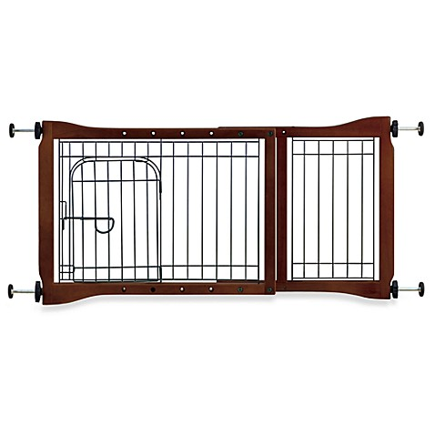 Wooden Tension Mounted Pet Gate With Door Bed Bath Amp Beyond