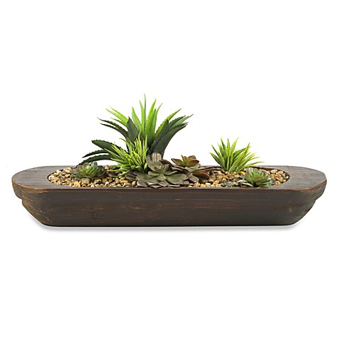 D & W Silks Echeveria Succulents Oblong Wooden Planter