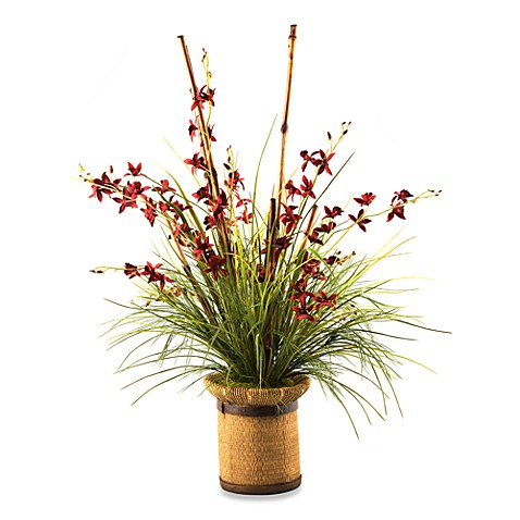 D & W Silks Orchids Grass and Bamboo Cane