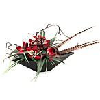 D & W Silks Burgundy Orchids Mixed with Yucca Grass and Dracaena