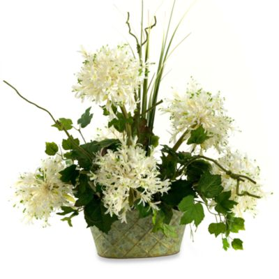 White Starfire Alliums with Grass and Ivy