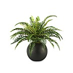 D & W Silks Fern in Resin Ball Planter
