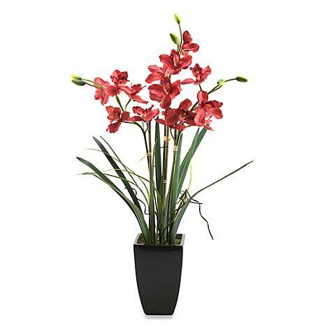 D & W Silks 38-Inch Tall Burgundy Orchids in Black Ceramic Planter