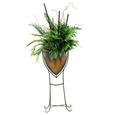 D & W Silks Cycas and Parlor Palm with Bamboo Poles