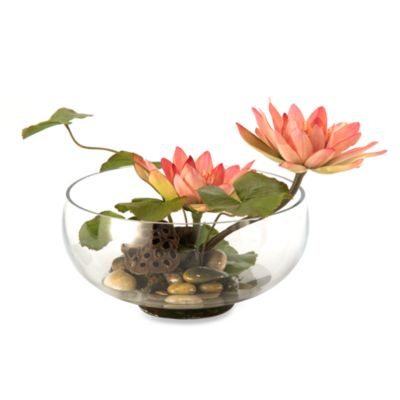 D & W Silks Water Lilies in Glass Bowl