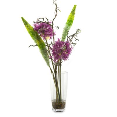 D & W Silks Anthuriums and Aliums in a Contemporary Glass Vase