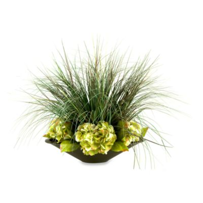 Hydrangeas and Grass in Oblong Metal Planter