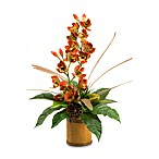 D & W Silks 33-Inch Tall Rust Orchids with Mixed Foliage in Natural Resin Planter