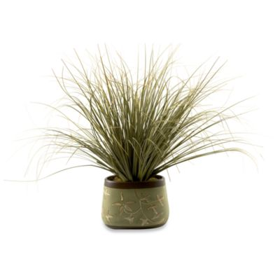 D & W Silks Onion Grass In Oblong Ceramic Planter
