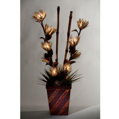D & W Silks Lighted Raffia in Wooden Planter