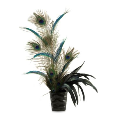 D & W Silks Mixed Peacock Feathers in Oval Ceramic Planter