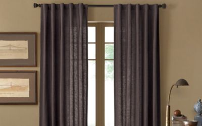 Malta 84-Inch Rod Pocket/Back Tab Window Curtain Panel in Slate