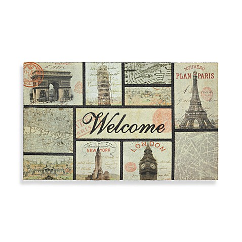 Letters from Abroad 18-Inch x 30-Inch Rubber Door Mat