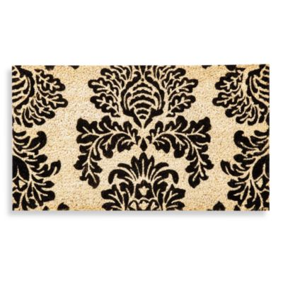 Black Damask Coir Door Mat