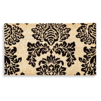 Black Damask Coir Doormat