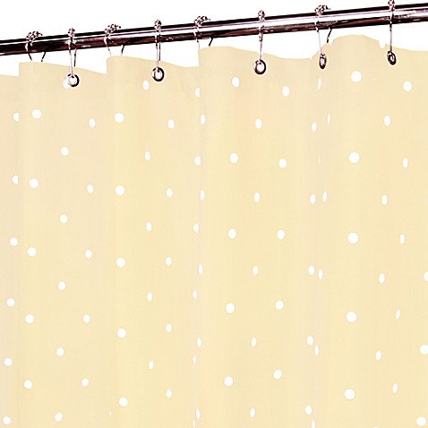 Classic Yellow and White Polka Dot Shower Curtain