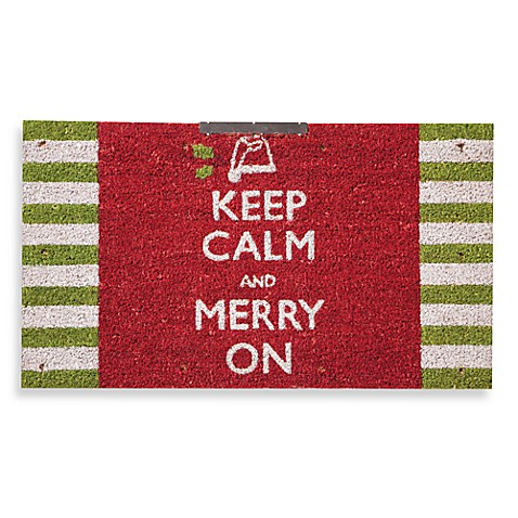 Keep Calm and Merry On Coir 16-Inch X 28-Inch Door Mat