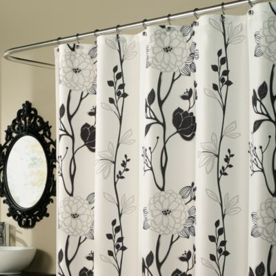 m.style Cassandra 70-Inch x 72-Inch Shower Curtain in Black/White