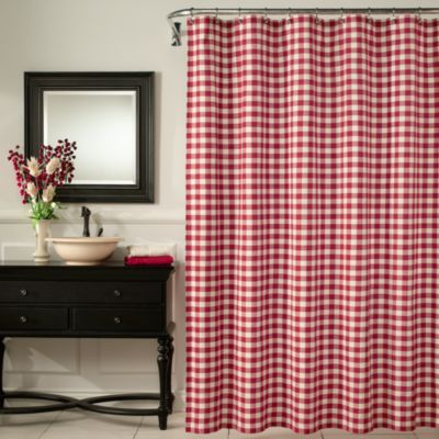 M. Style Classic Check 72-Inch x 72-Inch Shower Curtain in Red