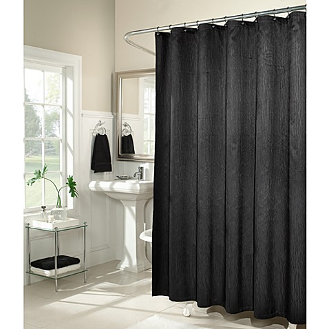 M. Style Waves 72-Inch x 72-Inch Shower Curtain in Black