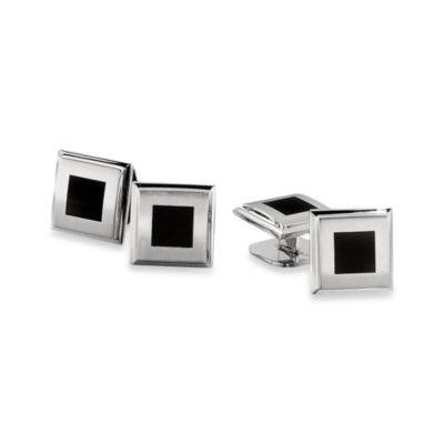 STEL™ Stainless Steel w/Black Enamel Tuxedo Stud Set