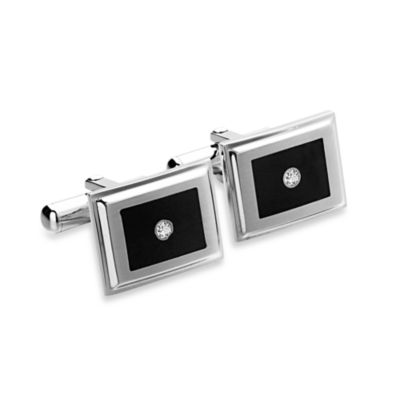 STEL™ Stainless Steel Black Enamel and .06 cttw Diamond Cufflinks
