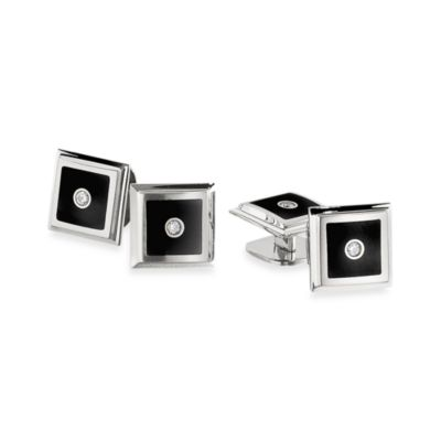 STEL™ Stainless Steel Black Enamel/.12 cttw Diamond Tuxedo Stud Set