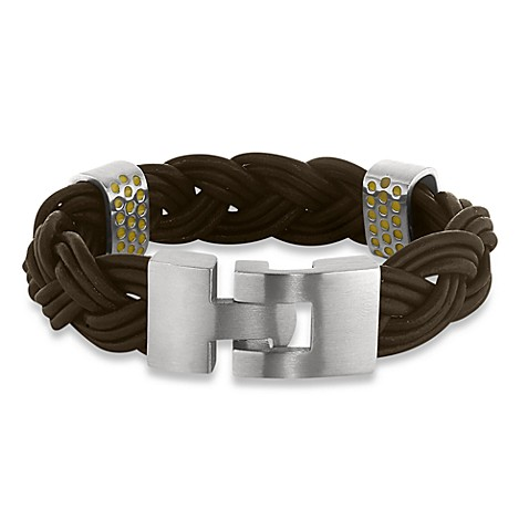 STEL™ Braided Leather Bracelet - Brown with Stainless Steel Clasp 8.5-Inches