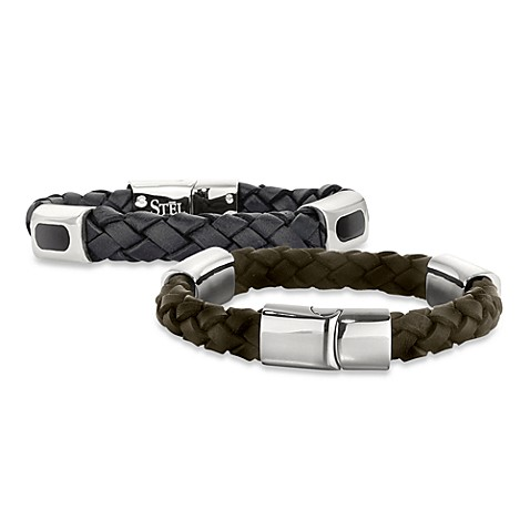 STEL™ Braided Leather 8.5-Inche Bracelet w/Stainless Steel and Enamel Accent Clasp