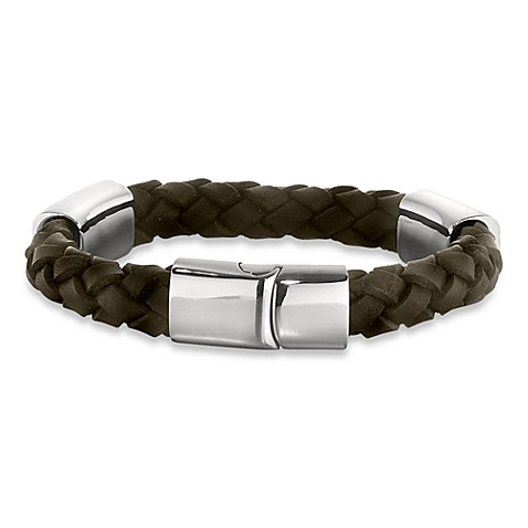 STEL™ Braided  8.5-Inches Leather Bracelet in Stainless Steel and Brown