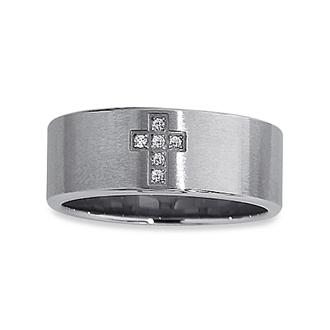 STEL™ Men's Stainless Steel .06 cttw Diamond Band
