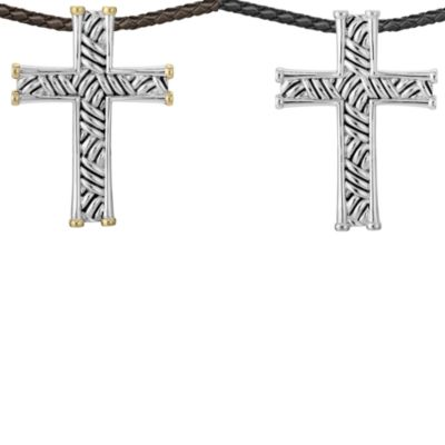 J. Goodman™ Cross Pendant w/Oxidized Thatch Design