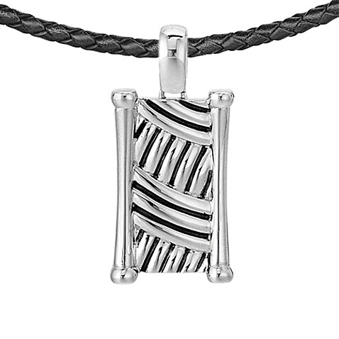 J. Goodman™ Dog Tag w/Oxided Thatch Design in Sterling Silver