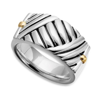 J. Goodman™ Sterling Silver/18K Yellow Gold Thatch Design Ring