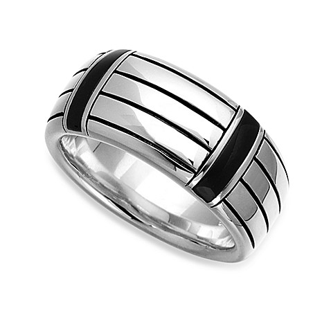 J. Goodman™ Sterling Silver and Onyx Striped Men's Comfort-Fit Ring