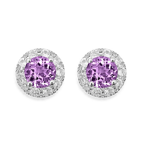 Badgley Mischka® Sterling Silver Earrings with Amethyst and White Topaz Studs